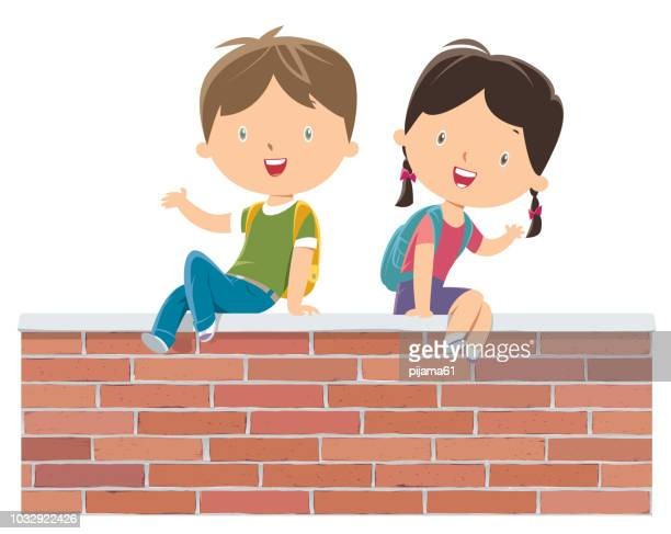 Kids on the red wall
