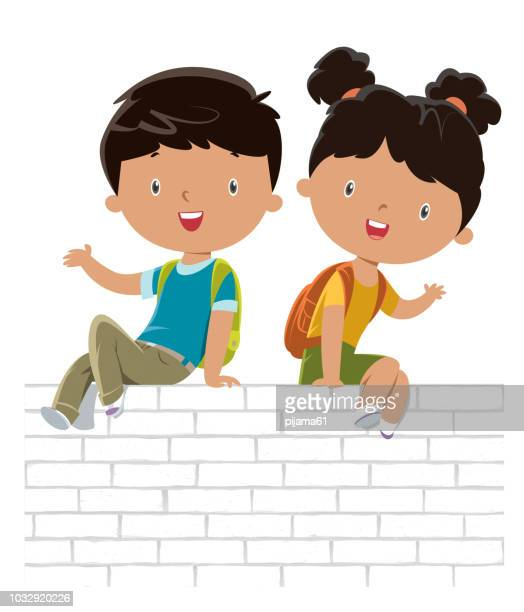 kids on the white wall