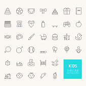 Kids Outline Icons for web and mobile apps