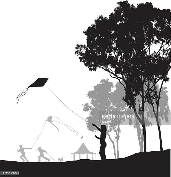 kids outside - eucalyptus tree stock illustrations