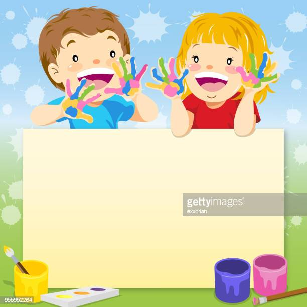 kids painting notice - naughty america stock illustrations, clip art, cartoons, & icons