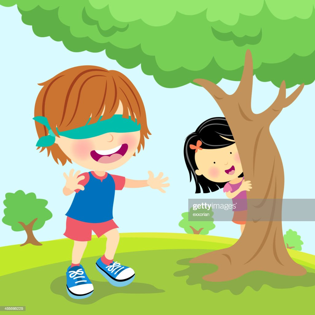 Kids Palying Blindfold Hide and Seek : stock illustration