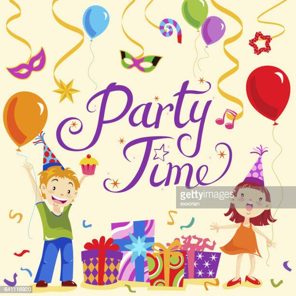 kids party time - naughty america stock illustrations, clip art, cartoons, & icons