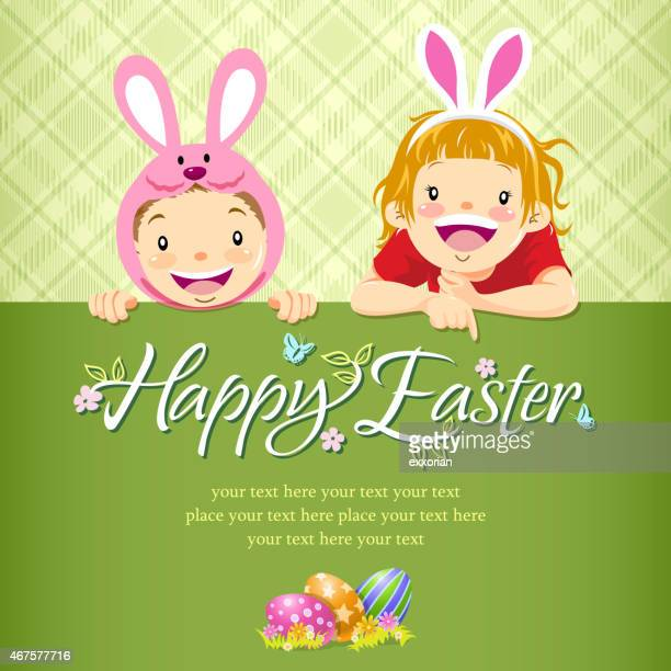 kids paying easter egg hunt notice - easter bunny costume stock illustrations, clip art, cartoons, & icons