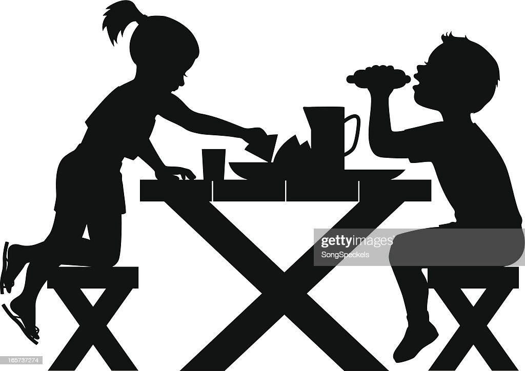 Kids Picnic Silhouette Vector Art | Getty Images