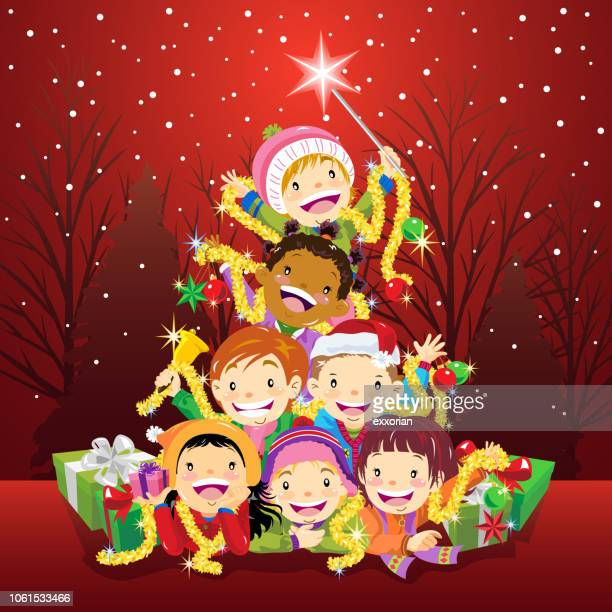 kids pile up as a christmas tree - naughty america stock illustrations, clip art, cartoons, & icons