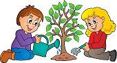 Kids planting tree theme image 1
