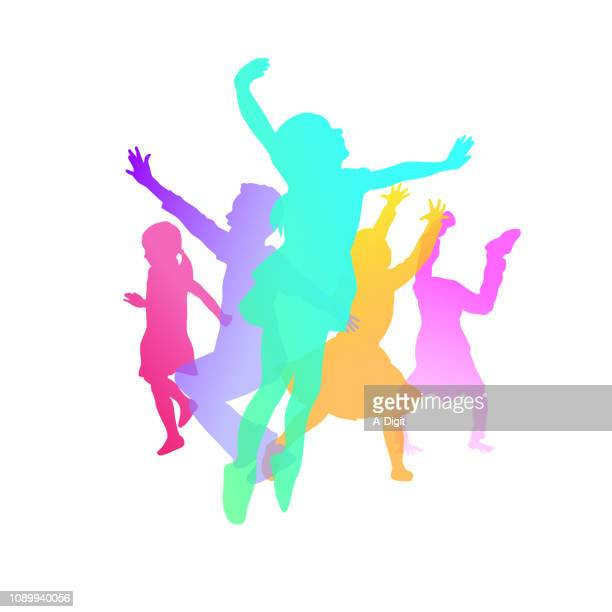 kids play color happiness - acrobatic activity stock illustrations