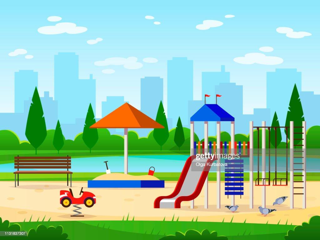 Kids playground. City park playground leisure outdoor activities cityscape landscape garden entertaining illustration