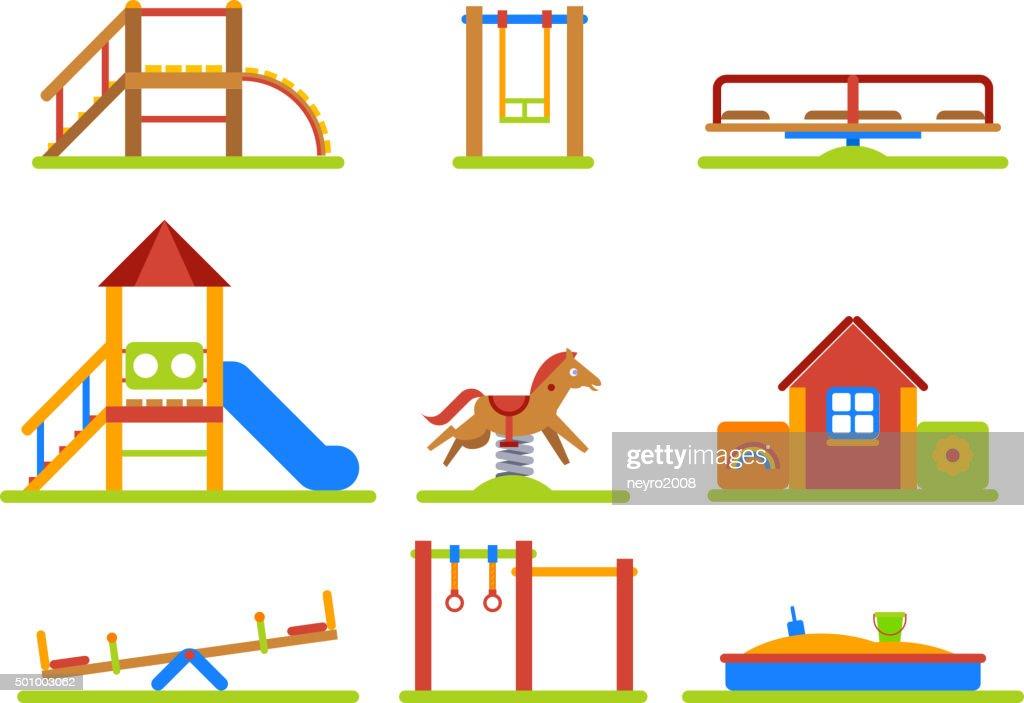 Kids playground flat vector icons set