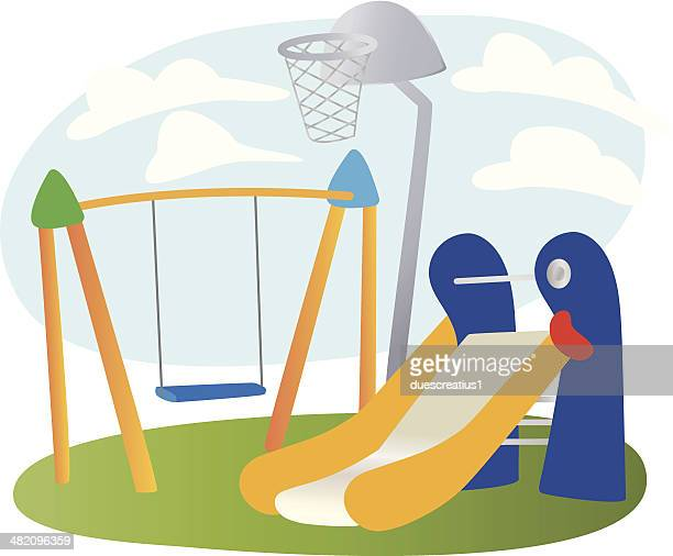kid's playground - school yard stock illustrations, clip art, cartoons, & icons