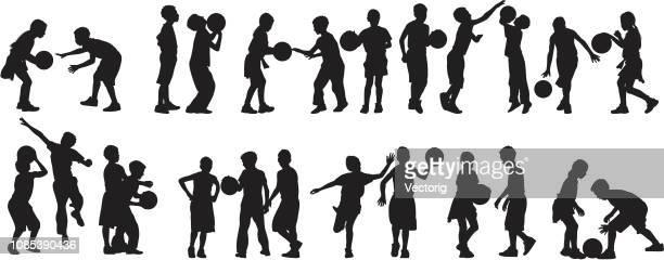 kids playing basketball - high jump stock illustrations