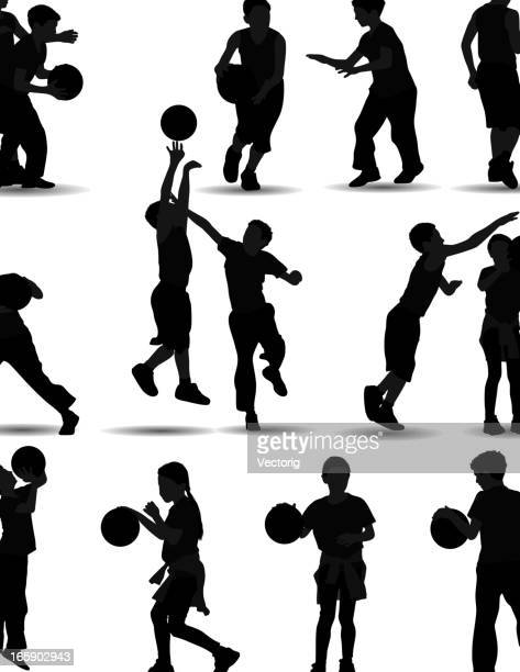 kids playing basketball - dribbling sports stock illustrations