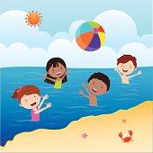 Kids playing beach ball