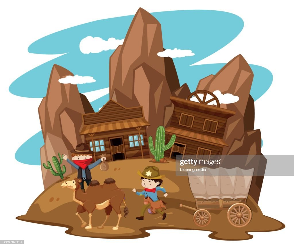 Kids playing cowboy in western town