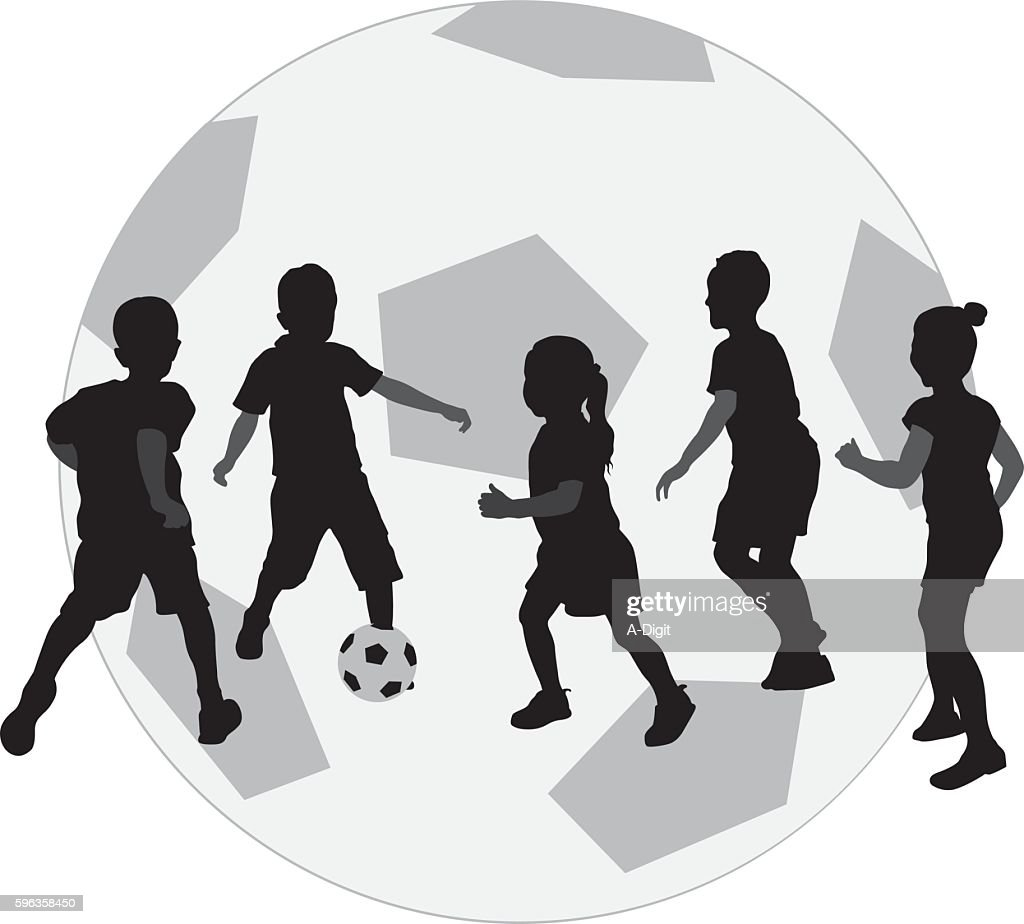 Kids Playing Football Icon Vector Art Getty Images