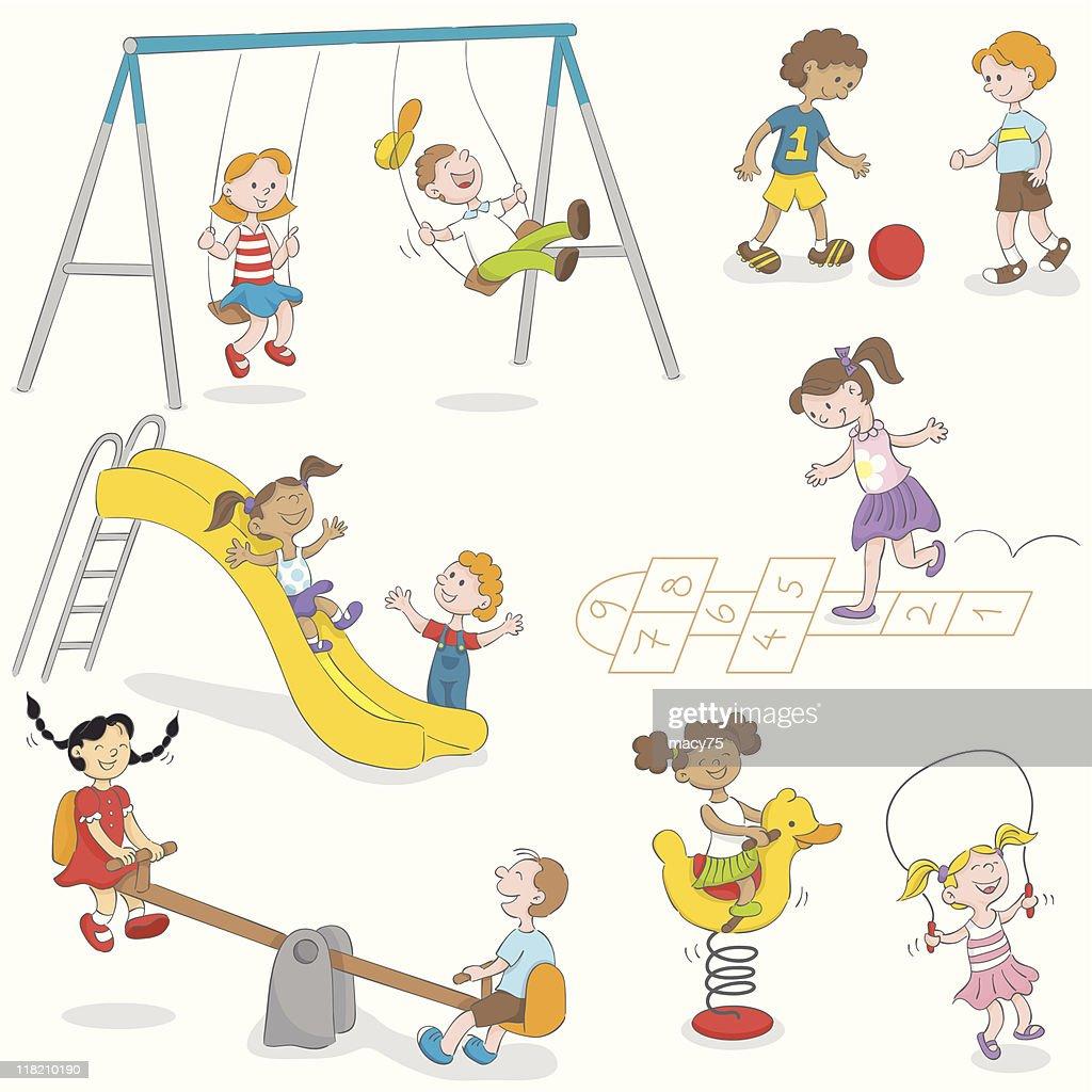 Bambini Che Giocano Il Set Di Divertente Illustrazione Stock Getty