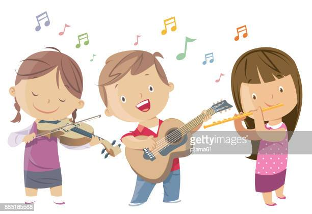 kids playing guitar, violin, flute