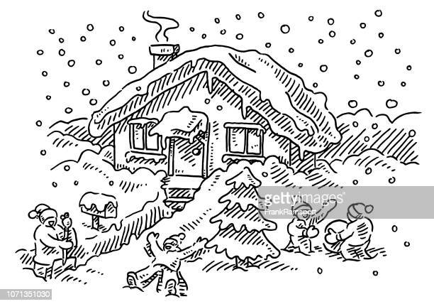 kids playing in the snow frontyard house drawing - winterdienst stock illustrations