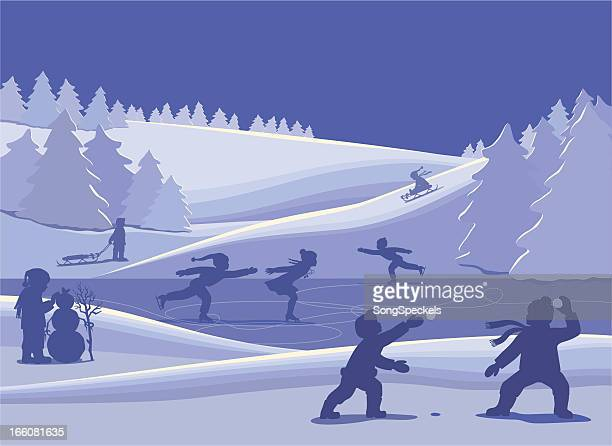 kids playing in the snow - tobogganing stock illustrations, clip art, cartoons, & icons