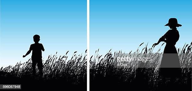 Kids Playing In The Wheat Grass