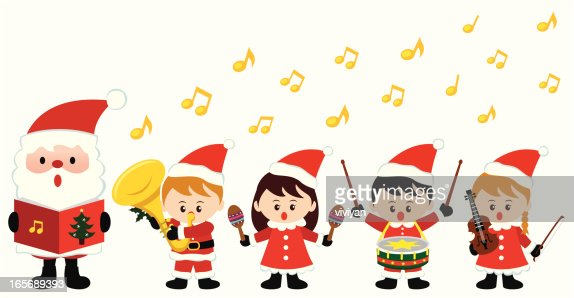Kids Playing Instrument In Christmas High-Res Vector ...