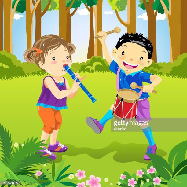 kids playing music - snare drum stock illustrations, clip art, cartoons, & icons