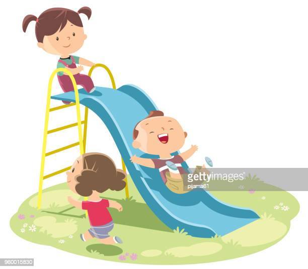 kids playing on slide - sliding stock illustrations