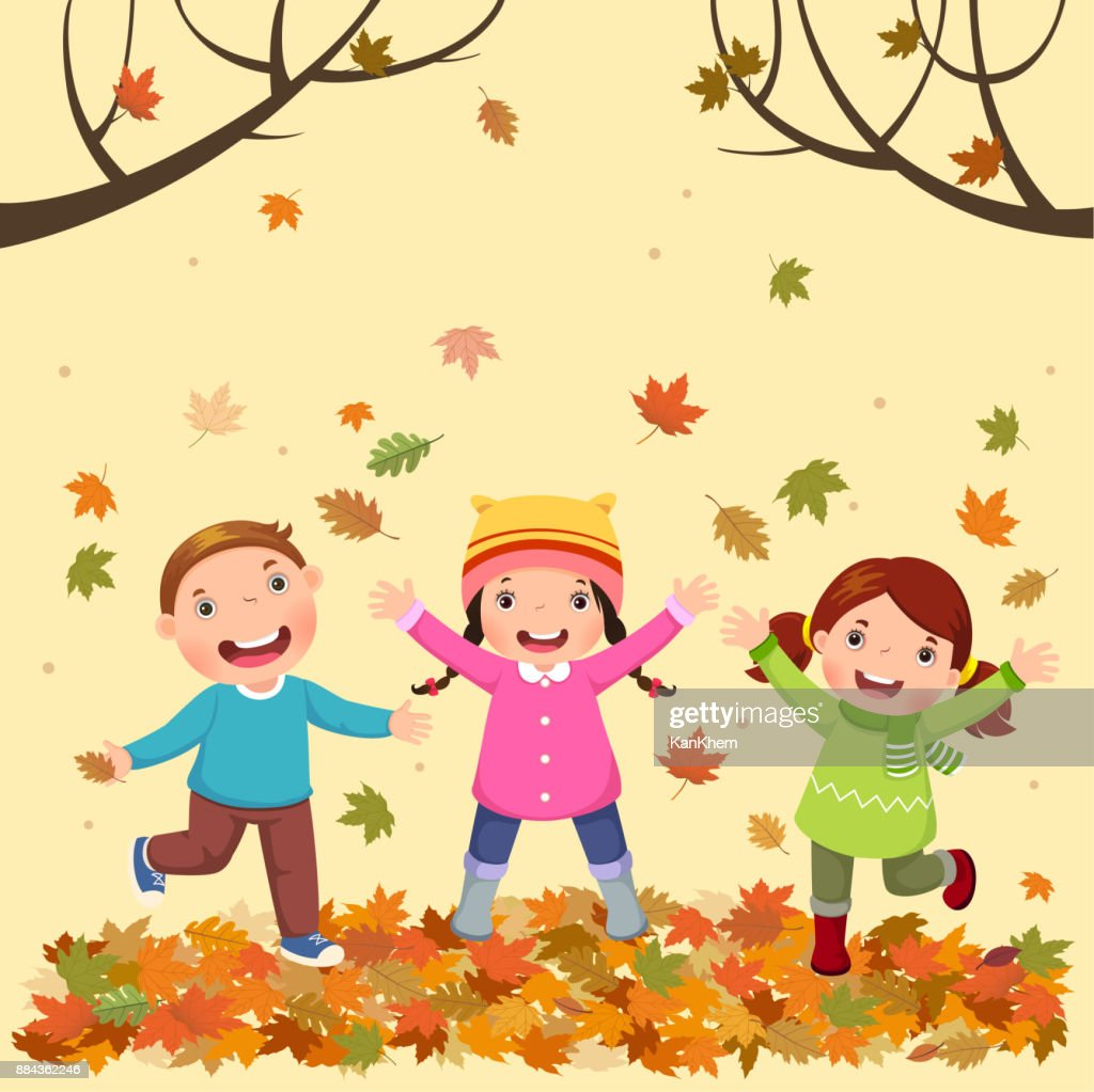 Kids playing outdoors in autumn