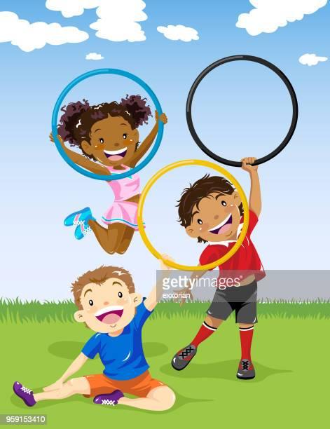 kids playing plastic hoop - plastic hoop stock illustrations