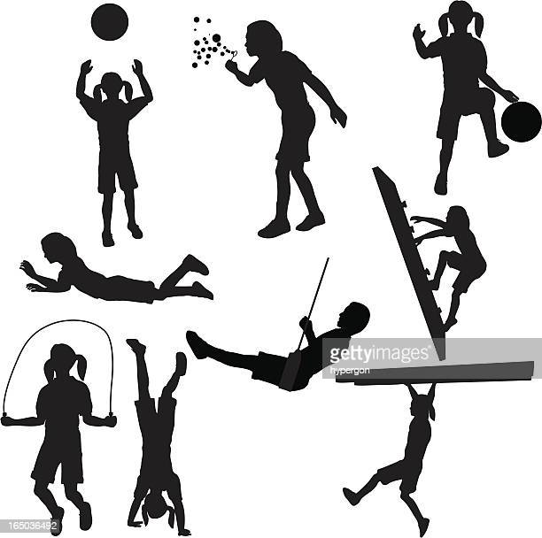 kids playing silhouette collection (vector+jpg) - jump rope stock illustrations, clip art, cartoons, & icons