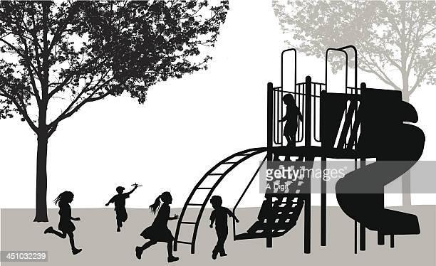 ilustraciones, imágenes clip art, dibujos animados e iconos de stock de kidsplaying - parque infantil
