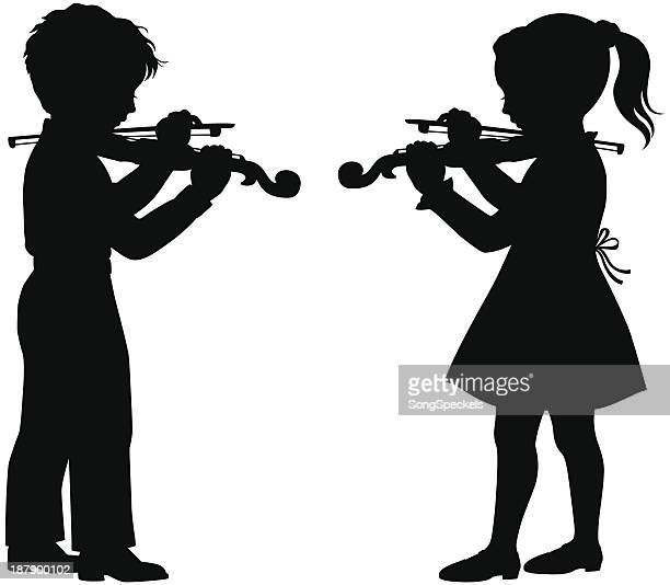 kids playing violin - violin stock illustrations, clip art, cartoons, & icons