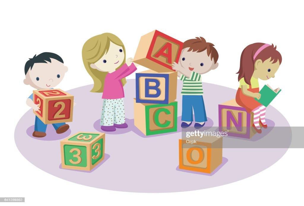 Kids Playing with Alphabet Blocks