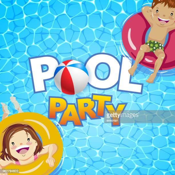 illustrations, cliparts, dessins animés et icônes de kids pool party - bouée gonflable