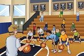 Kids Practicing Basketball