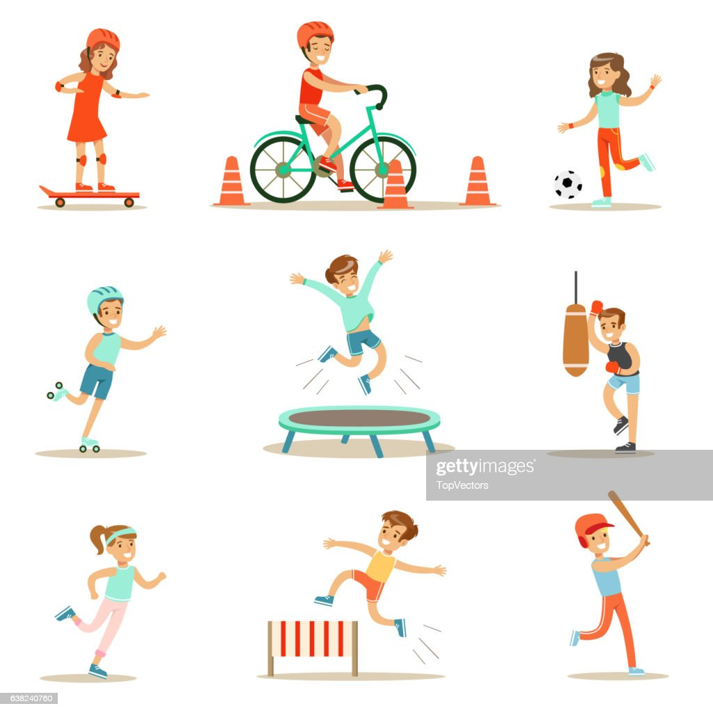 Kids Practicing Different Sports And Physical Activities