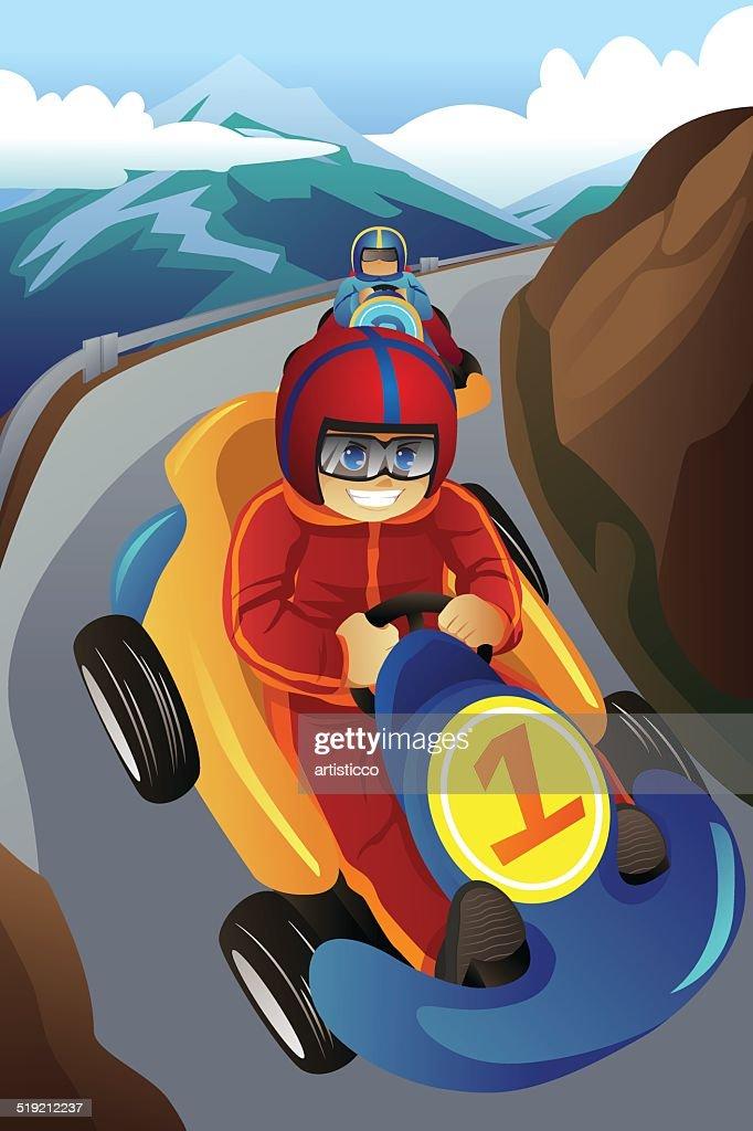 Kids racing in a go-kart
