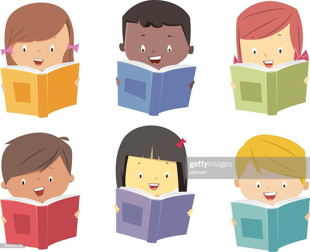 Kids read books : stock illustration