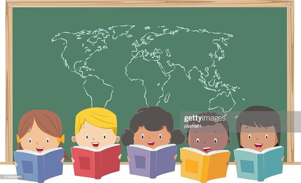 kids reading books : stock illustration