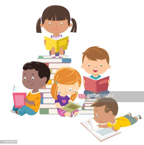 kids reading, group of friends - library stock illustrations