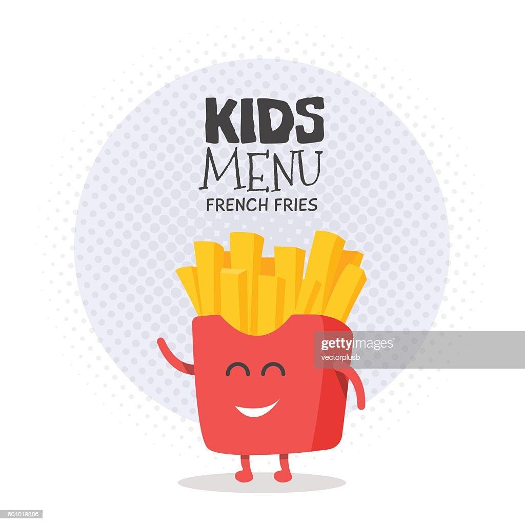 Kids restaurant menu cardboard character. Funny cute drawn french fries,