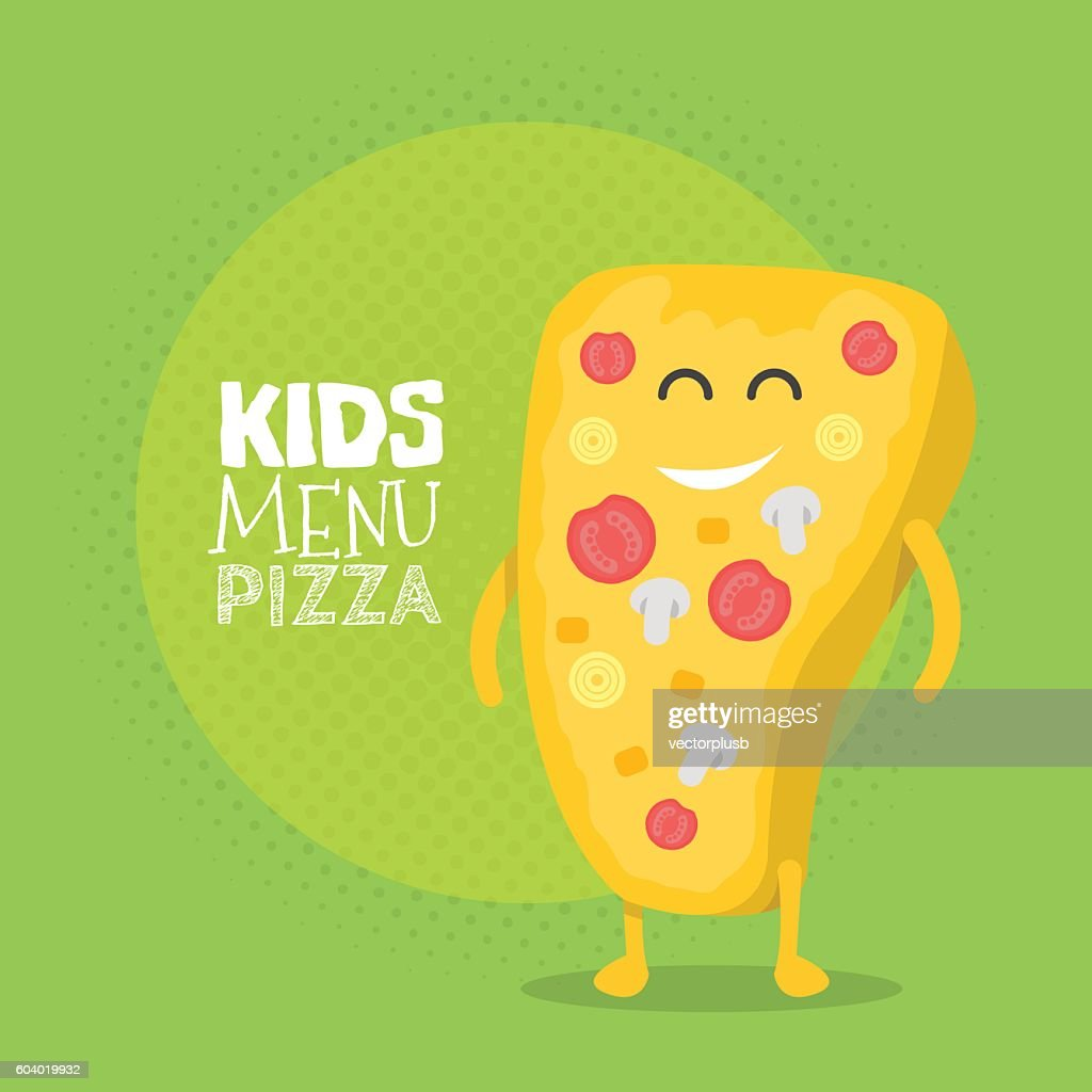 Kids restaurant menu cardboard character. Funny cute drawn pizza, with