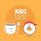 Kids restaurant menu cardboard character. Funny cute mug coffee and