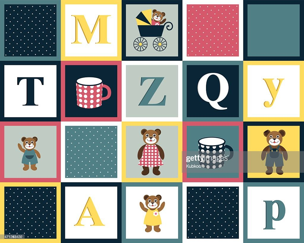 Kids retro colorful block with bear family and alphabet letters.
