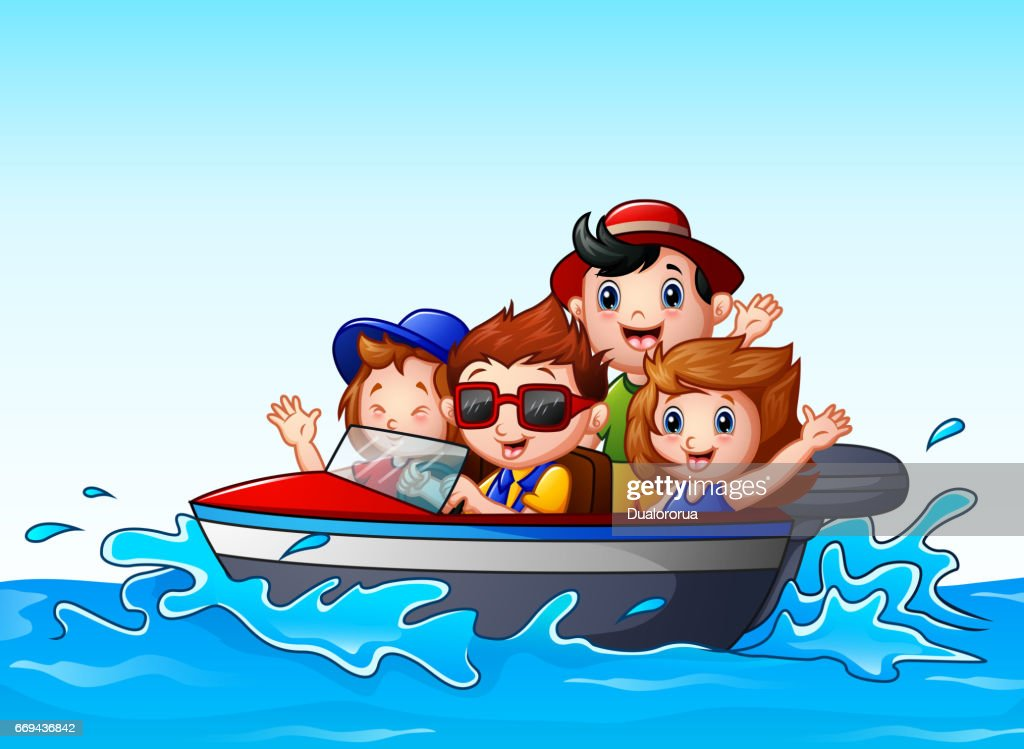 Kids riding a motor boat in the ocean