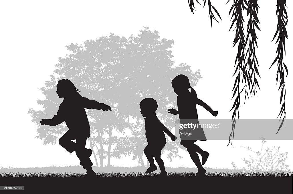 Kids Running Outdoors : stock illustration