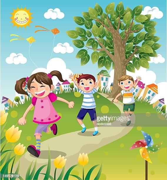 kids running - women's track stock illustrations, clip art, cartoons, & icons