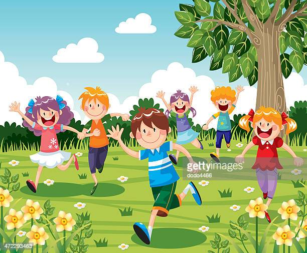 kids running - 8 9 years stock illustrations, clip art, cartoons, & icons