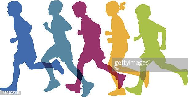 kids running - track and field stock illustrations, clip art, cartoons, & icons